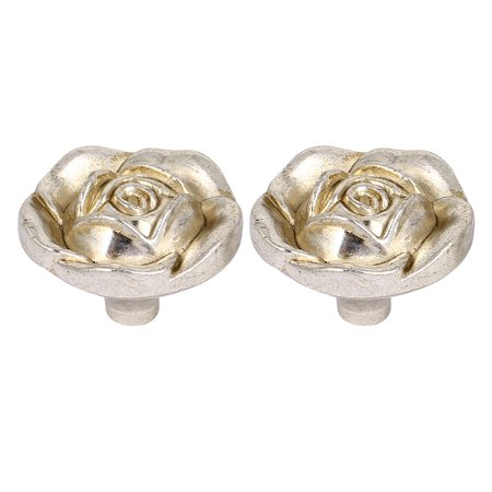 2pcs Antique Silver Rose Flower Cabinet Drawer Door Knob Pull Handles 30mm Dia.