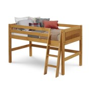 Camaflexi Twin Size Low Loft Bed - Mission Headboard - Cappuccino Finish