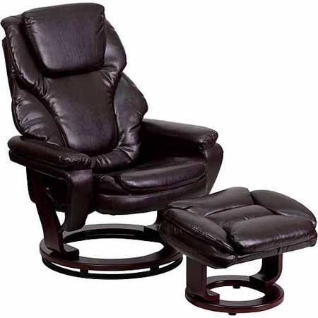 Phenomenal Flash Furniture Contemporary Leather Recliner And Ottoman With Swiveling Mahogany Wood Base Multiple Colors Dailytribune Chair Design For Home Dailytribuneorg