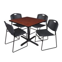 """Cain 36"""" Square Breakroom Table- Cherry & 4 Zeng Stack Chairs- Black"""