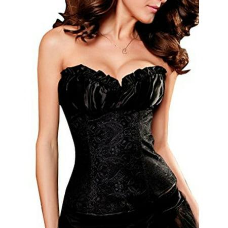 Black Lace Up Corset - SAYFUT Women's Corset Intimates Jacquard Floral Lace Up Ribbon Trim Waist Trainer Corset Shapewear With G-string Black Size S-6XL