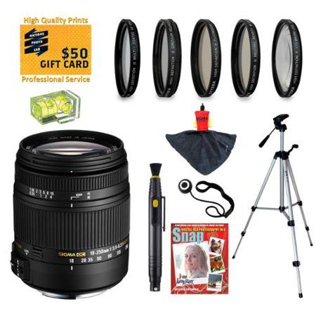 Sigma 18-250mm f3.5-6.3 DC MACRO HSM Lens with UV, CPL, FLD, ND4 and +10 Filters for Sony Alpha A77, A65, A58, A57, A55, A37, A35, A33, A900, A700, A580, A560, A550, A390 and A380 Digital SLR Cameras