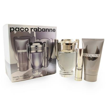Invictus 3 Pc. Gift Set ( Eau De Toilette Spray 3.4 Oz + Eau De Toilette Spray 0.34 Oz. + All Over Shampoo 2.5 Oz ) for Men by Paco Rabanne