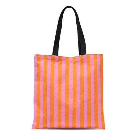 LADDKE Canvas Tote Bag Orange Abstract Striped Pink and Yellow Red Artistic Beautiful Durable Reusable Shopping Shoulder Grocery Bag - Orange And Pink