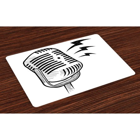 Doodle Placemats Set of 4 Retro Microphone Communication and Media Concept Radio Show Speech Talk Podcast, Washable Fabric Place Mats for Dining Room Kitchen Table Decor,Black White, by