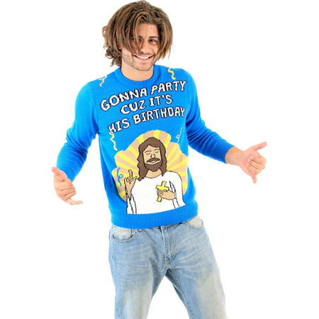 Gonna Party Cuz It's His Birthday Jesus Blue Ugly Christmas Sweater - Ugly Sweater Pics