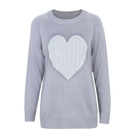 Women Winter Long Sleeve Loose Cardigan Knitted Sweater Jumper Love Heart Knitwear Outwear Coat Tops