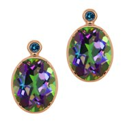 4.62 Ct Oval Green Mystic Topaz Blue Diamond Gold Plated Silver Earrings