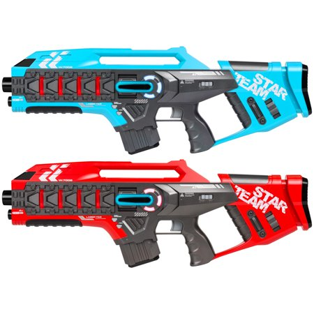 Best Choice Products Set of 2 Kids Interactive Infrared Rifle Laser Tag Toy Blaster Guns w/ Anti-Cheat Function, Extra Lives, Life Tracker, Backwards Compatible - Red/Blue