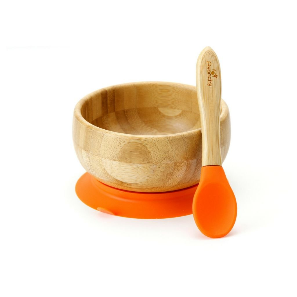 Baby Feeding Bamboo Spill Proof Stay Put Suction Bowl + Baby Spoon Great Baby Gift Set, Orange By Avanchy by Avanchy
