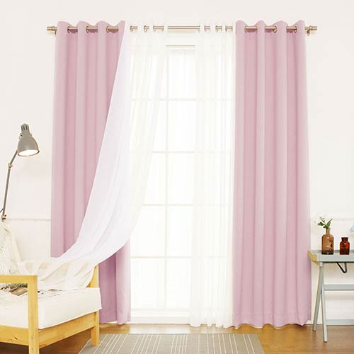Light Pink 52 x 96 In. Blackout Window Treatments, Set of Four by