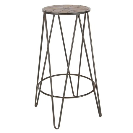 Pleasing Decmode 30 Inch Modern Metal And Wood Round Stool Brown Andrewgaddart Wooden Chair Designs For Living Room Andrewgaddartcom