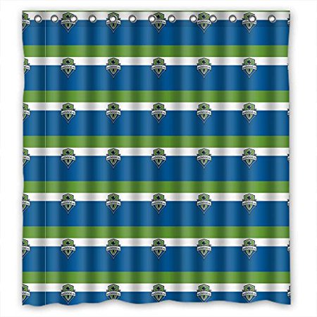 Ganma Odorless Durable Hanging Seattle Sounders Fc Mls Soccer Logo Shower Curtain Polyester Fabric Bathroom