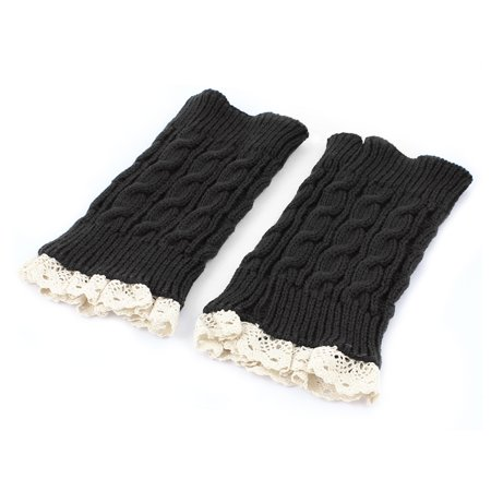 Lady Winter Lace Trim Knitted Crochet Leg Warmers Boot Cuff Pair](Winter Lace)