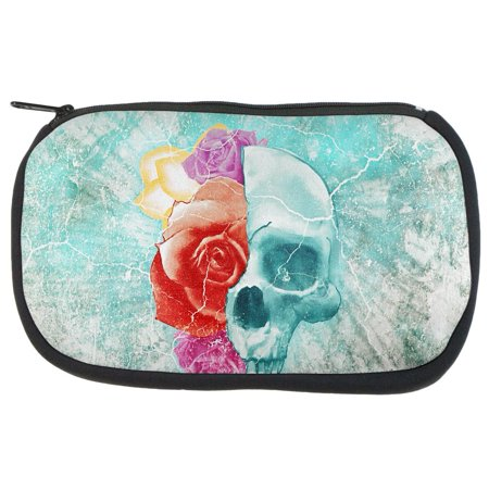 Halloween Distressed Skull and Flowers Makeup Bag