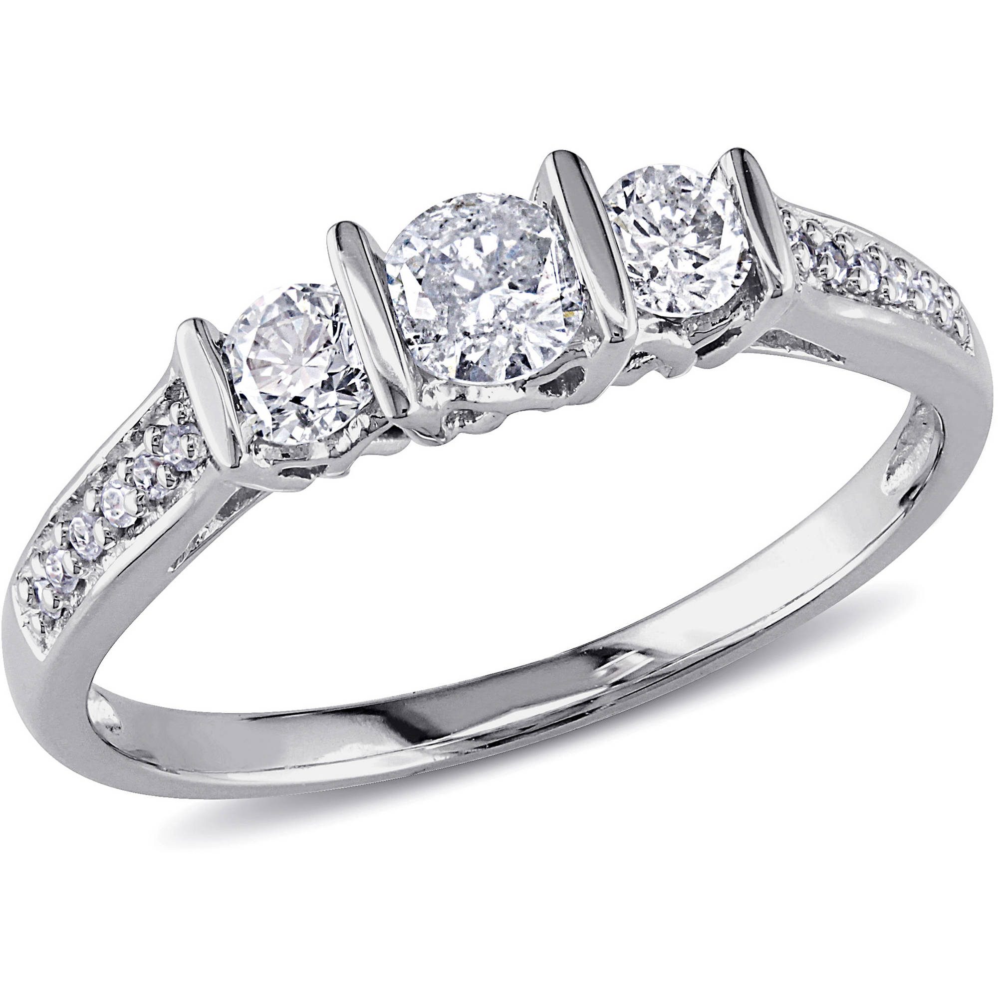 1/2 Carat T.W. Three-Stone Diamond Engagement Ring in 10kt White Gold
