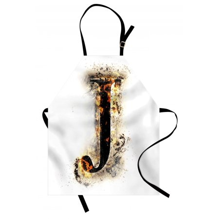 Letter J Apron Majuscule J Burning Effects Retro Alphabet English Gothic Influence Image, Unisex Kitchen Bib Apron with Adjustable Neck for Cooking Baking Gardening, Tan Black Yellow, by (Tan Apron)