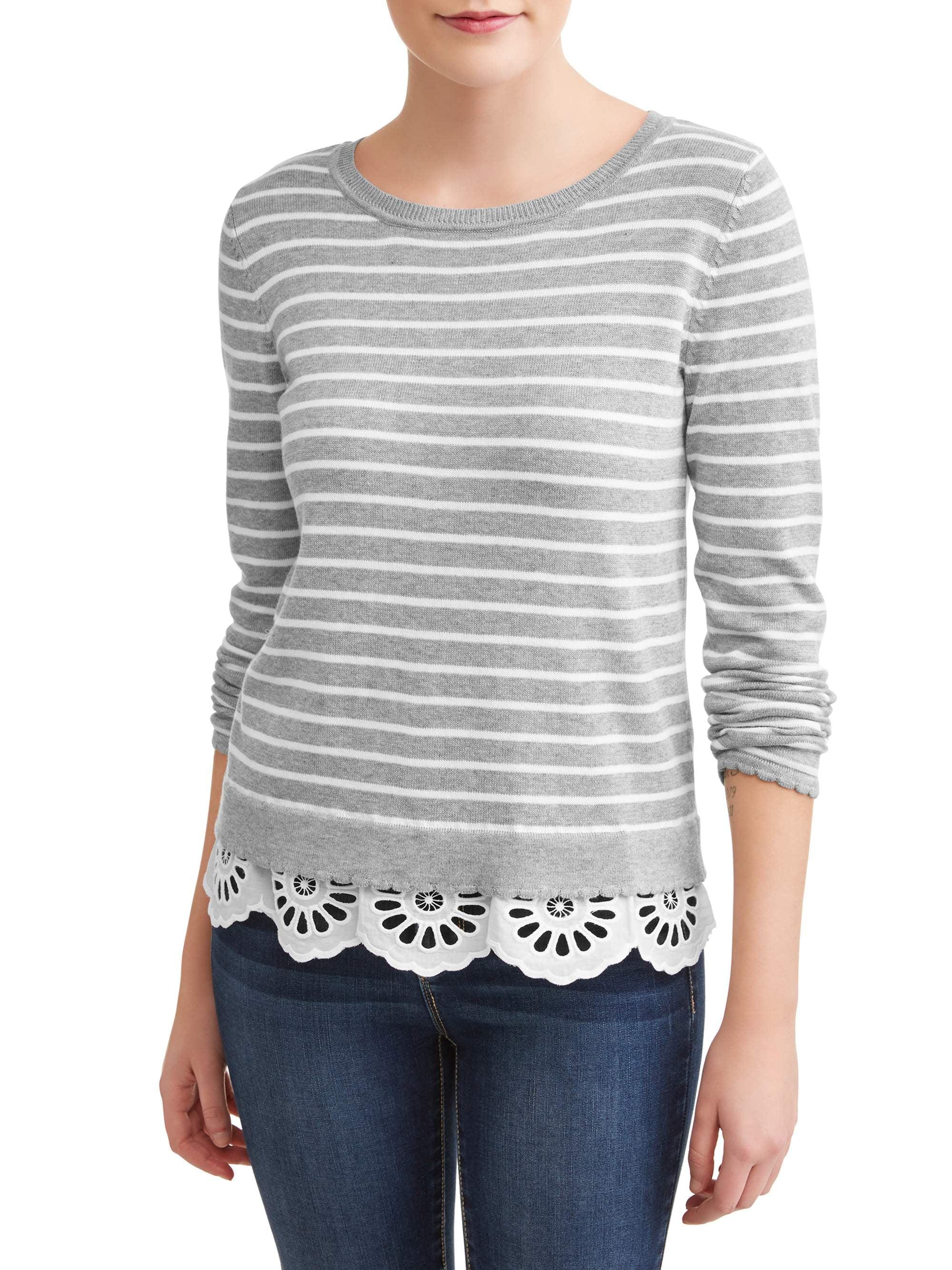 Women's Striped Lace Trim Sweater