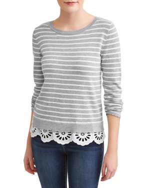 bff428506b5d2 Product Image Women's Striped Lace Trim Sweater