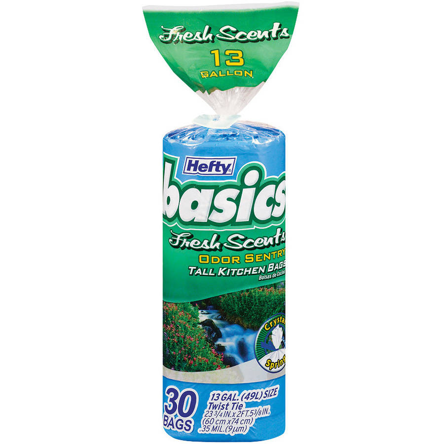 Hefty 13 Gallon Basics Fresh Scents Tall Kitchen Bags, 30 count