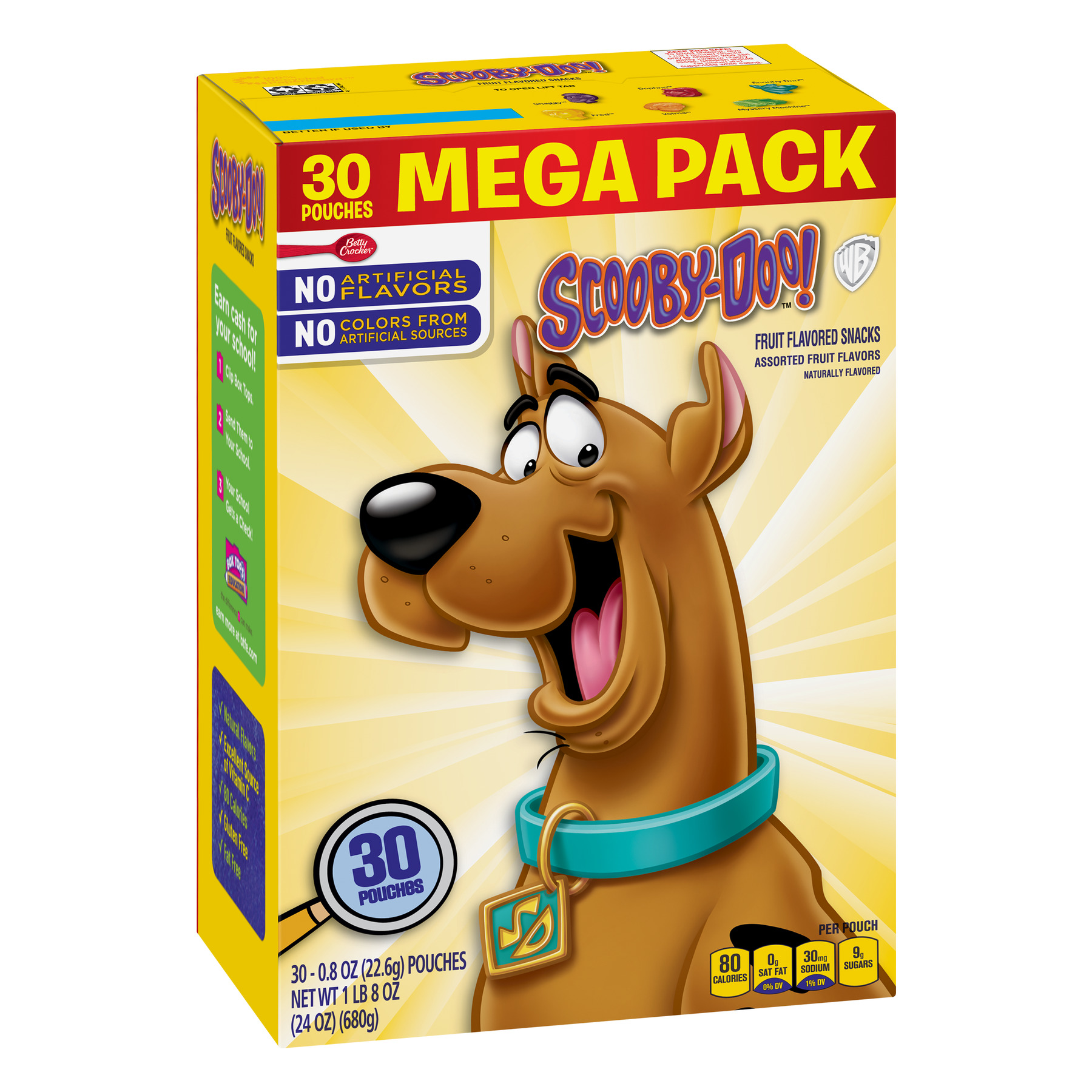 Betty Crocker Fruit Snacks, Scooby Doo Snacks, Mega Pack, 30 Pouches, 0.8 oz Each