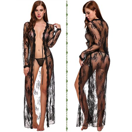 Reactionnx Lingerie for Women Sexy Long Lace Dress Sheer Gown See Through Kimono Robe (Mesh Sheer Robe)