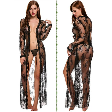 Sexy Sheer Robe (Reactionnx Lingerie for Women Sexy Long Lace Dress Sheer Gown See Through Kimono)