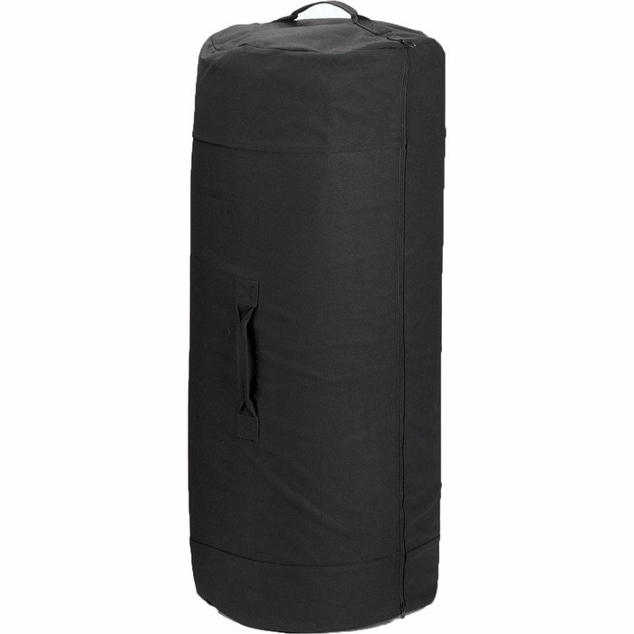 Black Military Duffle Bag with Side Zipper 30 in. x 50 in. Cotton Canvas by Rothco