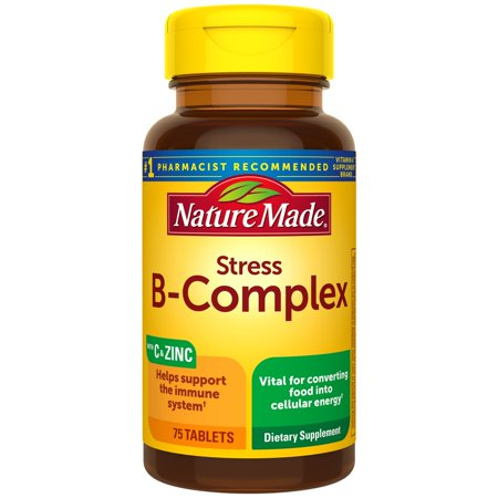 Nature Made Stress B-Complex with Vitamin C and Zinc Tablets, 75 Count for Metabolic Health†