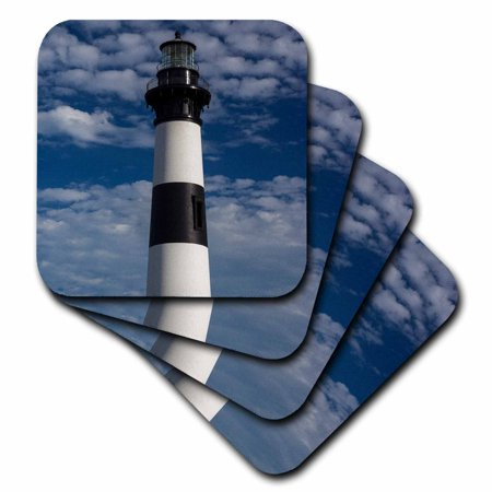 3dRose North Carolina, Outer Banks, Bodie Island Lighthouse - Soft Coasters, set of