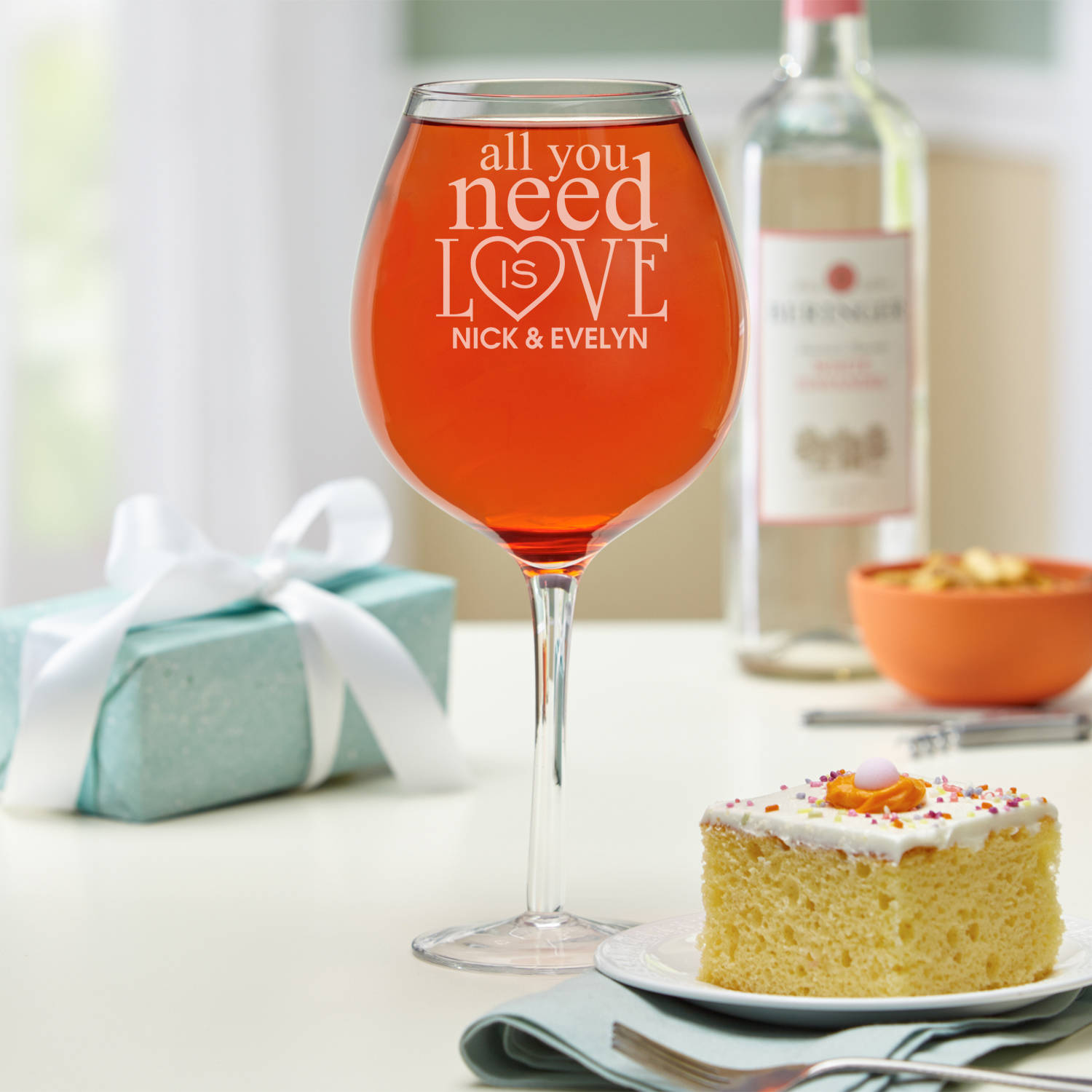 Personalized All You Need is Love Colossal Wine Glass