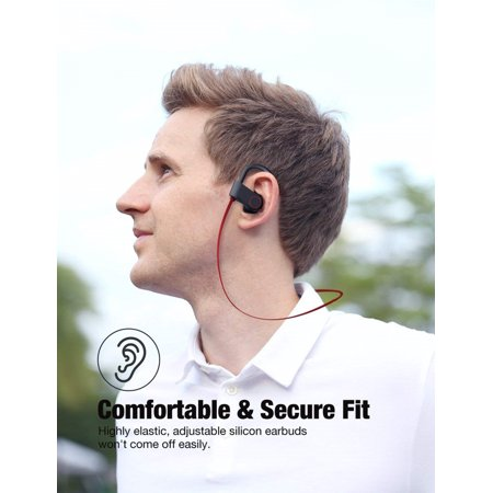 SUNZEO Bluetooth Headphones, Best Wireless Sports Earphones w/Mic IPX7 Waterproof HD Stereo Sweatproof Earbuds for Gym Running Workout 8 Hour Battery Noise Cancelling