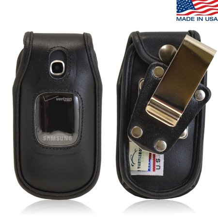 Turtleback Samsung Gusto 3 Heavy Duty Black Leather Flip Phone Case With Removable Belt Clip   Made In Usa