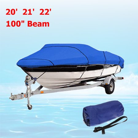 20 Feet 21 Feet 22 Feet 100 Beam Waterproof Dustproof Boat Cover Heavy Duty For Fish-Ski Sports & Outdoors V-Hull Speedboat 210D