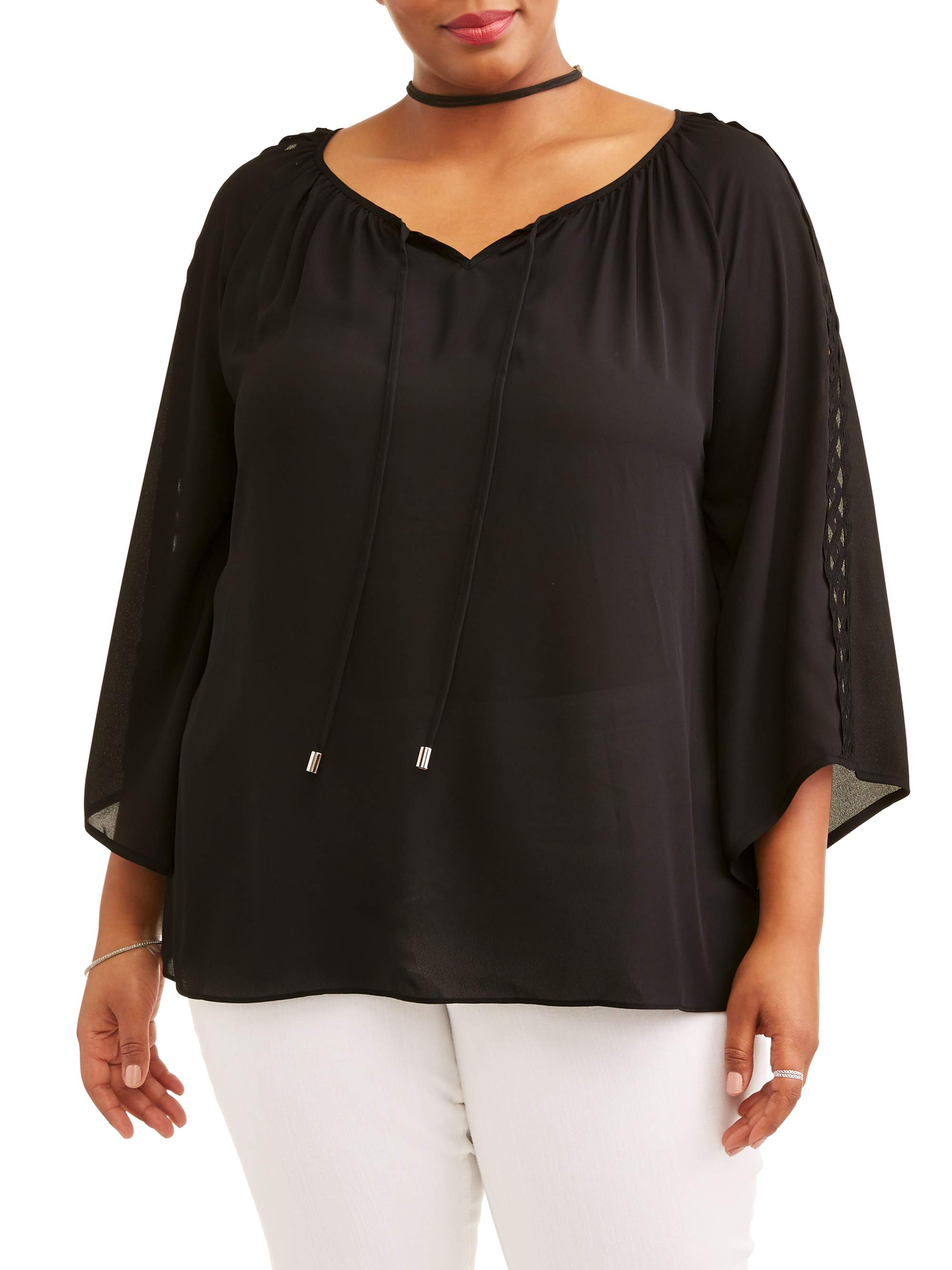 Women's Plus Woven Crepe Tie Blouse