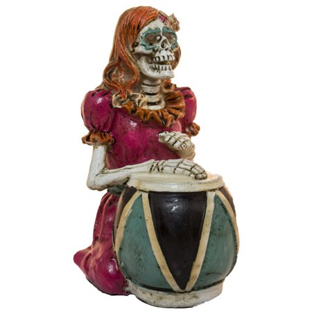 Halloween Day Of The Dead Decoration- Lady Skeleton Drummer Figurine - Halloween Figurine