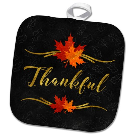 3dRose Thankful Typography Faux Gold Leaf and Chalkboard Fall Theme - Pot Holder, 8 by