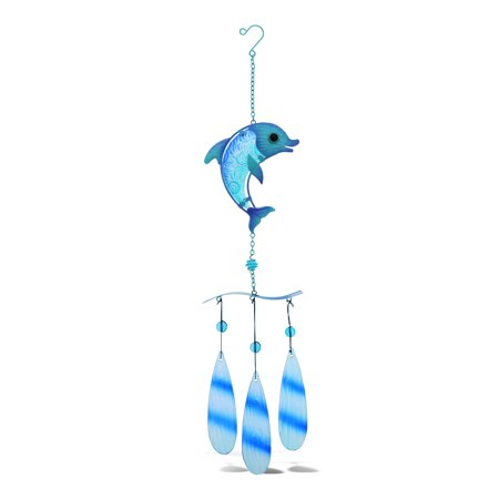 Image of CoTa Global Blue Dolphin Hanging Sea Glass Wind Chime 27.36 Inch, Nautical Glass Windchime Outdoor Decor for a Harmonic Porch, Patio & Garden, Unique Beach Art Indoor Wind Chime Window Mobile
