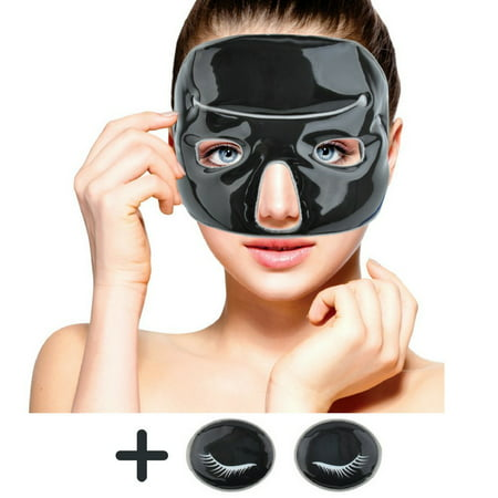 Cold Clay Facial Ice Mask by FOMI Care | Plus 2 Eye Compresses | Cooling Face Mask for Acne, Swollen Face, Puffy Eyes, Dark Circles, Headache, Migraine, Sinus Relief | (Cowling Mask)
