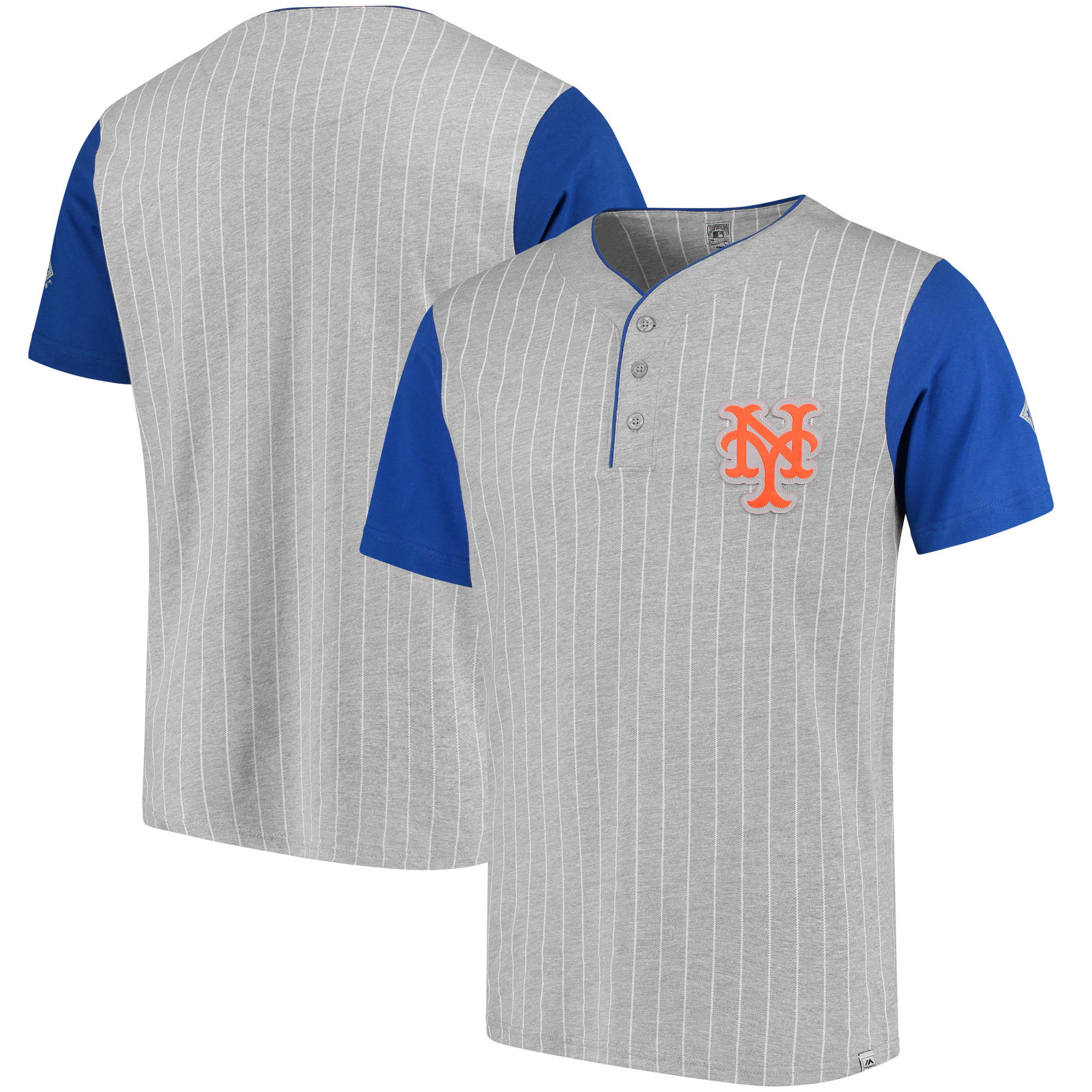 New York Mets Majestic Cooperstown Collection Pinstripe Henley T-Shirt - Gray/Royal