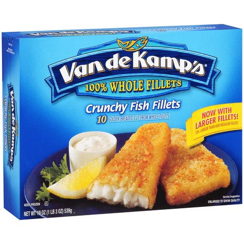 Van De Kamps Crunchy Golden Breaded Whole Fish Fillets, 12 Ct