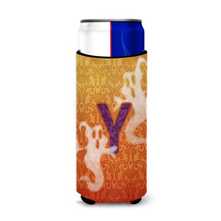 Halloween Ghosts Monogram Initial  Letter Y Ultra Beverage Insulators for slim cans CJ1040-YMUK - Halloween Names For Beverages