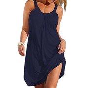 Dresses for women Summer Sleevless Tank Dress Plain Pleated Vest T Shirt Dress Casual Loose Mini Dress Sundress Beach Bikini Swimsuit Cover Up Dark Blue S