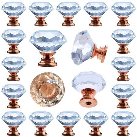 25 pcs Crystal Rose Gold Glass Drawer Pulls 30 mm Decorative Knobs for Kitchen Bathroom Cabinet, Dresser and Cupboard ()