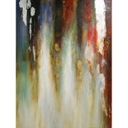 HDC International Brown Abstract with Metalic Leafing Painting Print on Wrapped Canvas