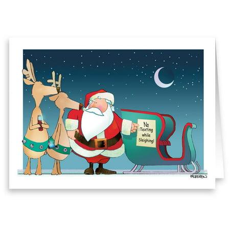 santa says no texting christmas card 18 cards envelopes - No Photo Christmas Cards