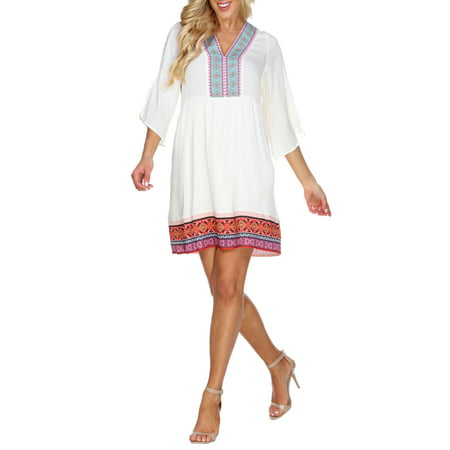 Women's Embroidered Tunic Dress - Belle Dress For Women