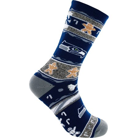 Seattle Seahawks Ugly Christmas , Large, Officially Licensed By Socks