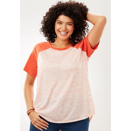 dfe9b5c4e79 Woman Within - Plus Size Contrast Marled Baseball Tee - Walmart.com