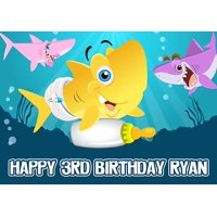BABY SHARK Personalized Cake Topper Icing Sugar Paper A4 Sheet Edible Frosting Photo Birthday Cake Topper 1/4